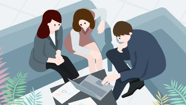 business cooperation office staff, Sofa, Notebook, Office illustration image