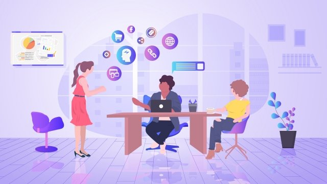 business office communicate with team, Cooperation, Data, Analysis illustration image