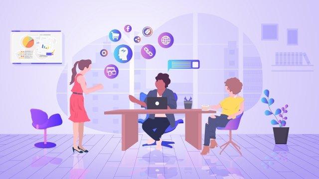 営業所はチームと通信します イラストレーション画像 イラスト画像