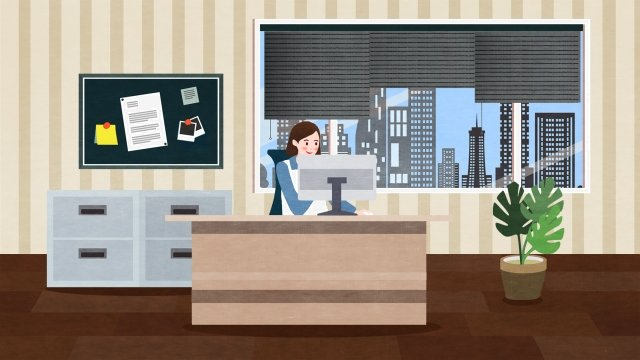 business office go to work computer llustration image