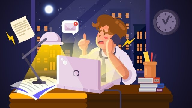 business office hand painted cartoon white collar, Night, Overtime, Workplace illustration image
