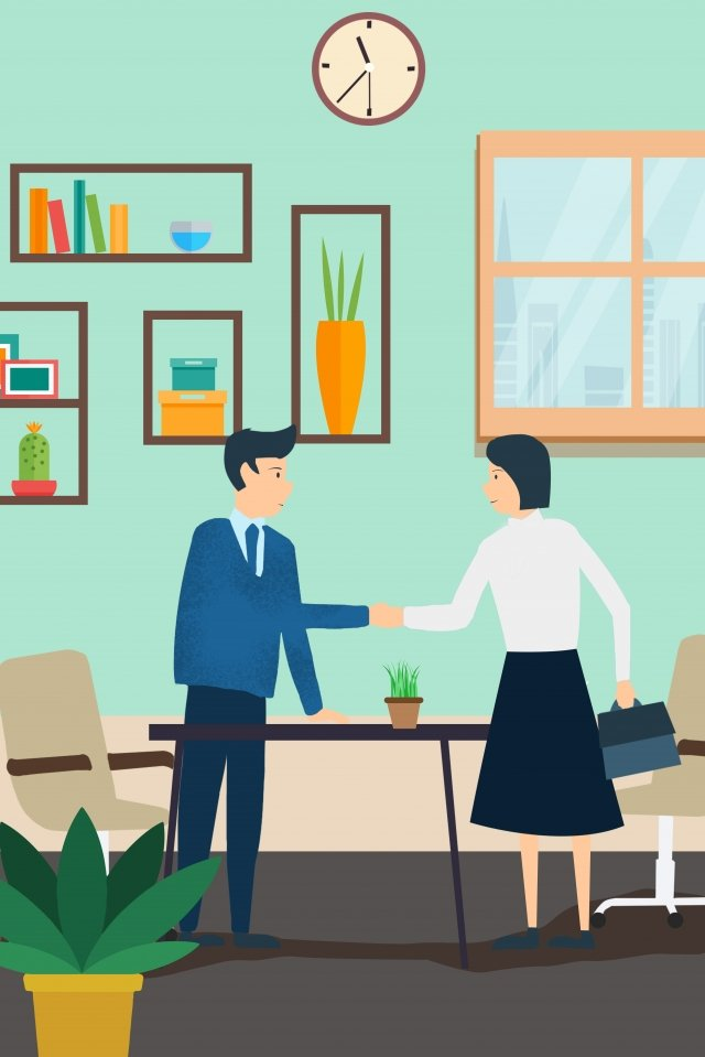 business office home cooperation, Handshake, Office, Illustration illustration image