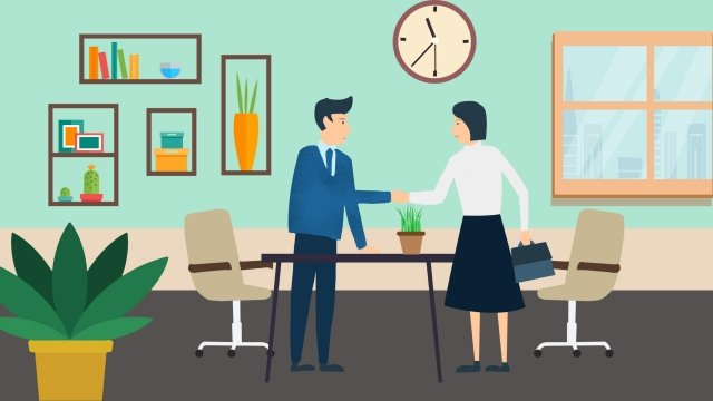 business office home cooperation, Negotiate, Handshake, Flowers illustration image
