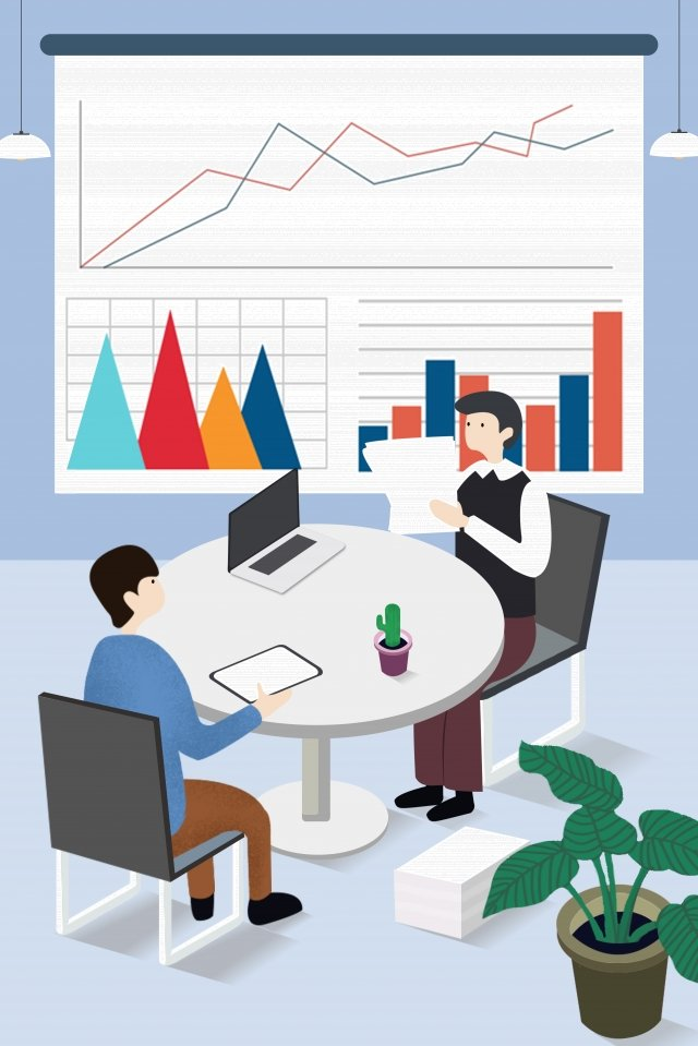 business office home cooperation, Negotiate, Flowers, Table illustration image