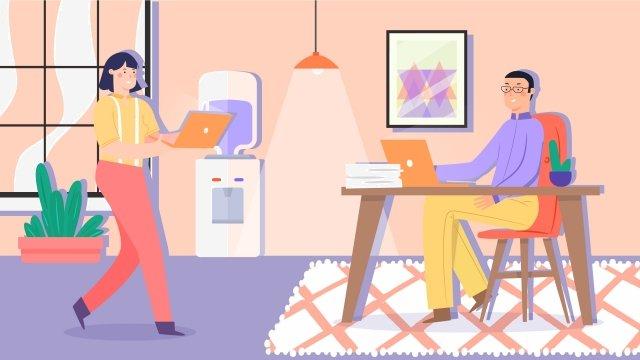 business office illustration cartoon, Office Worker, Office, Office Area illustration image