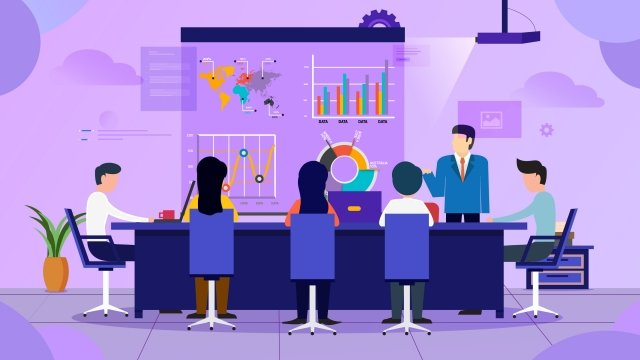 business office meeting training, Data, Convenient, Effectiveness illustration image