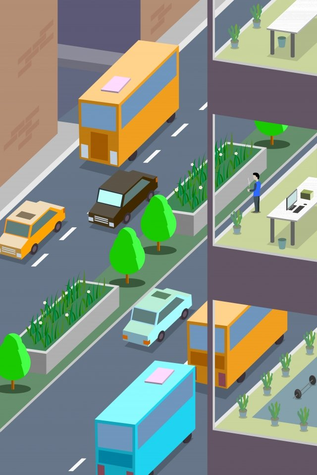 business office office building office, Road, Car, Outside The Window illustration image