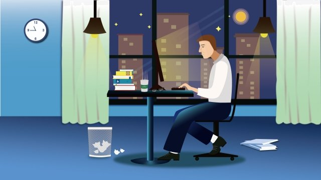 ビジネスオフィス残業残業 イラスト素材 イラスト画像
