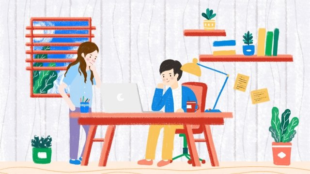 business office team cooperation studio, Discuss, Hand Painted, Bright Colors illustration image