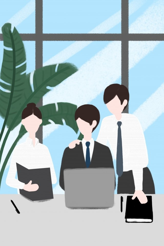 business office team cooperation white collar, Computer, Green Plant, Floor To Ceiling Window illustration image