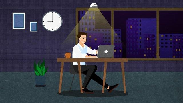 бизнес сверхурочно офис поздно ночью Ресурсы иллюстрации Иллюстрация изображения