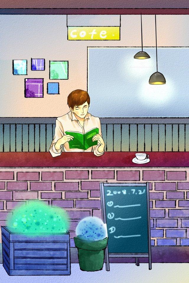 카페 작은 가게 아름다운 커피 삽화 소재