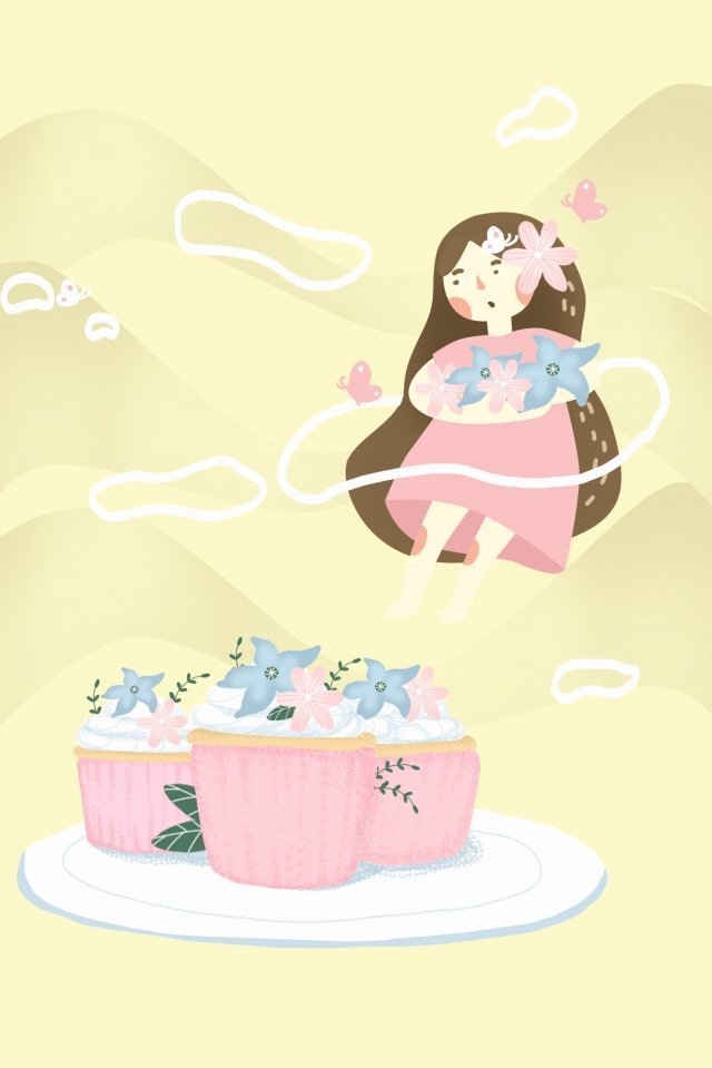 蛋糕甜點裝飾女孩 插畫素材