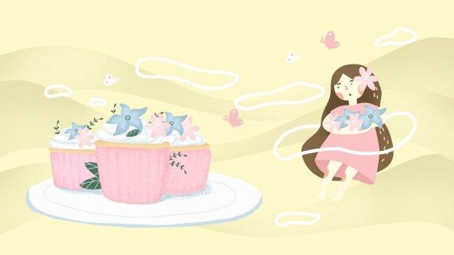 cake dessert decoration girl llustration image illustration image