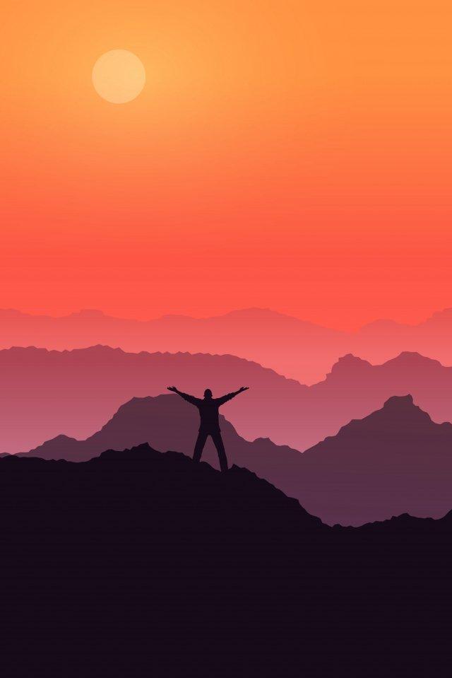 高山の空の夕日を呼び出す イラスト素材 イラスト画像