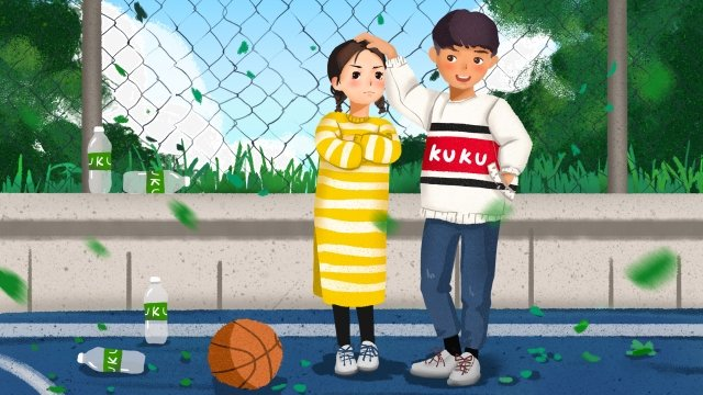 campus couple court walking, Appointment, Basketball, Playground illustration image