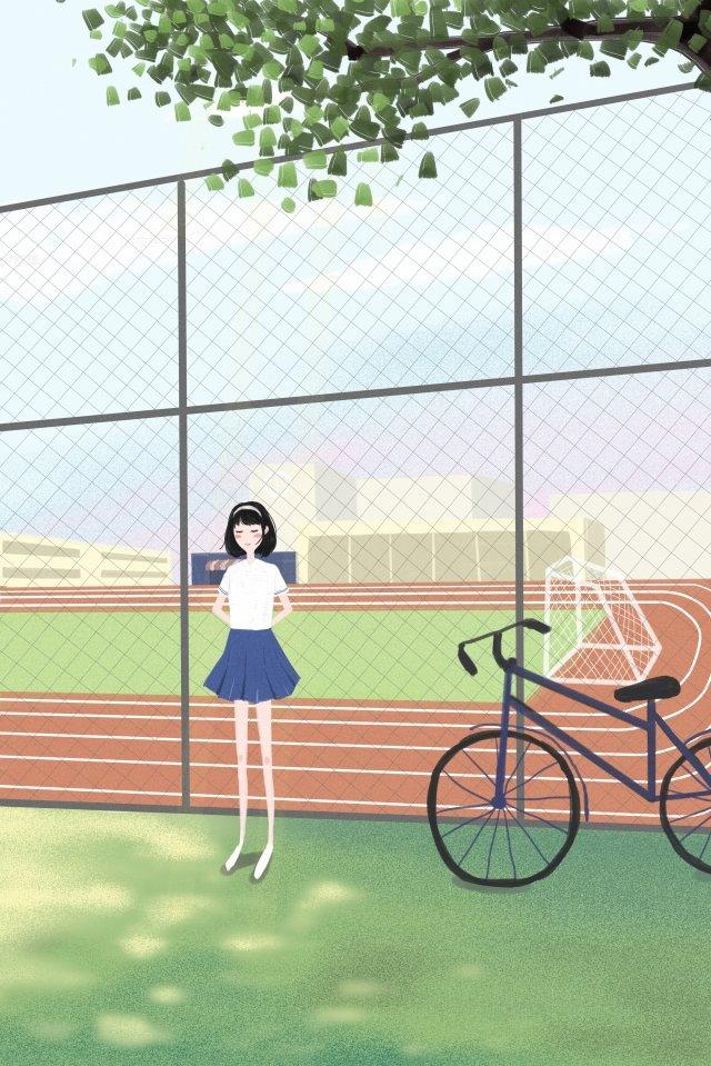キャンパス新鮮な遊び場の女の子 イラスト素材
