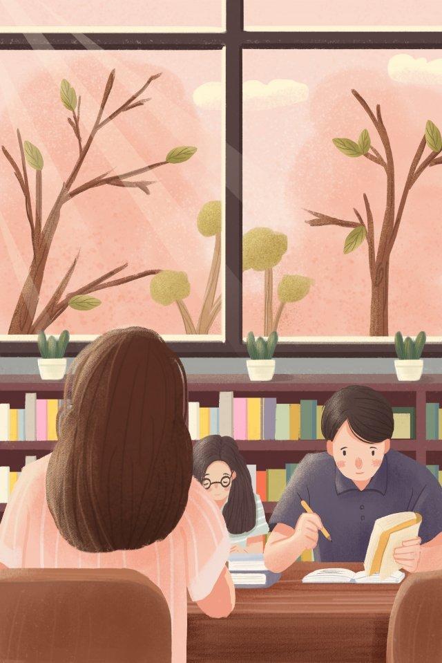 キャンパススクール図書館読書 イラスト素材 イラスト画像