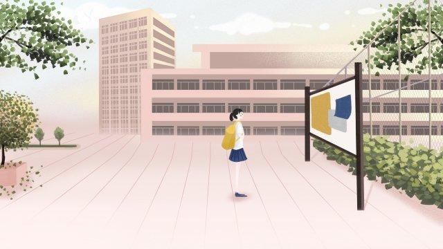 キャンパススクール遊び場図 イラスト素材