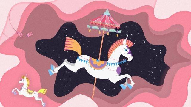 カードホリデー遊園地カルーセル イラスト素材 イラスト画像