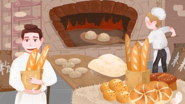 職業性格麵包師古老的烘焙方法 插畫素材 插畫圖片