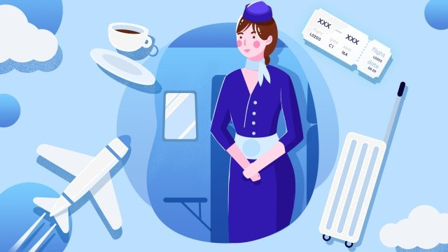 career industry jobs business, Aircraft, Flight Attendant, Boarding Pass illustration image