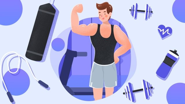 career industry jobs fitness coach, Gym, Fitness, Dumbbell illustration image