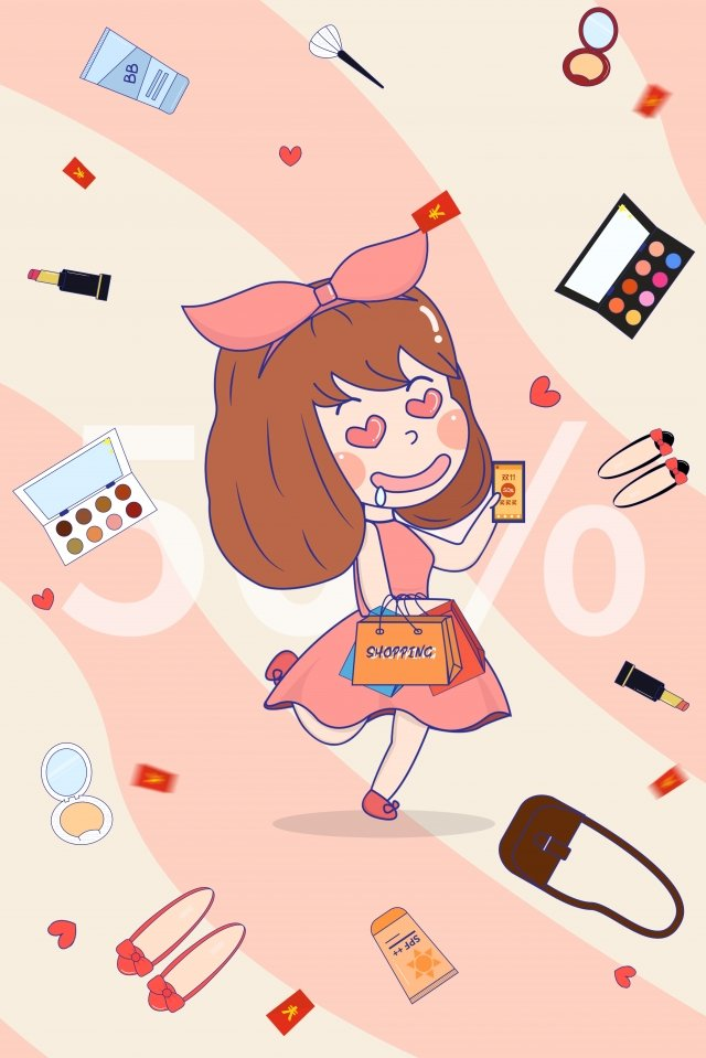 carnival girl cosmetic skin care products illustration image