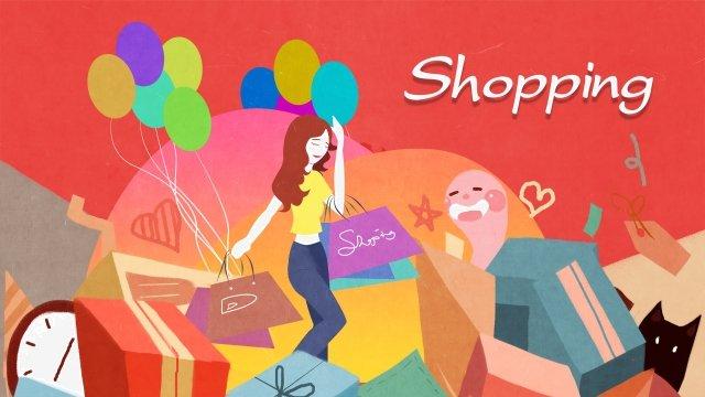 狂歡節購買女孩插圖 插畫素材 插畫圖片