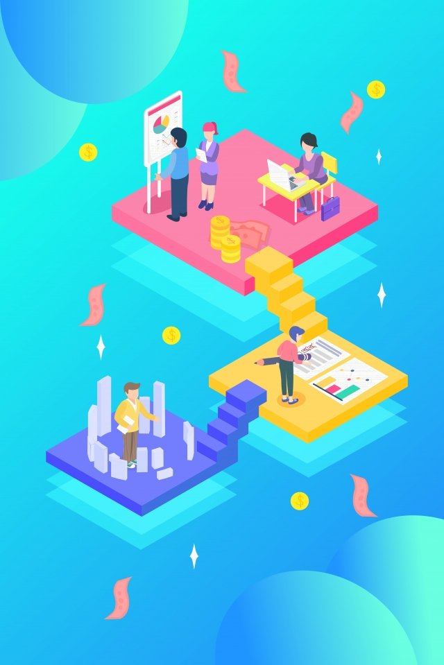 cartoon 2 5d isometric business illustration image
