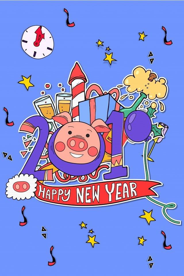 ano de desenhos animados 2019 do estilo cômico de porco feliz ano novo Imagens de ilustração