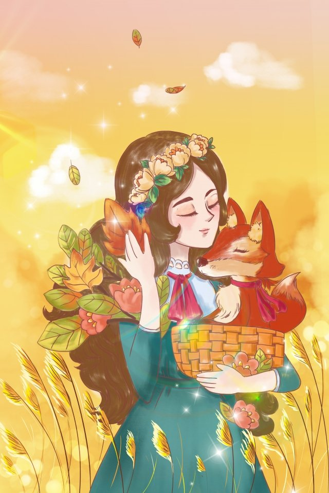 cartoon autumn day whisper mori girl llustration image illustration image