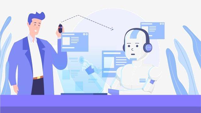 cartoon business future artificial intelligence, Technology, Concept, Illustration illustration image