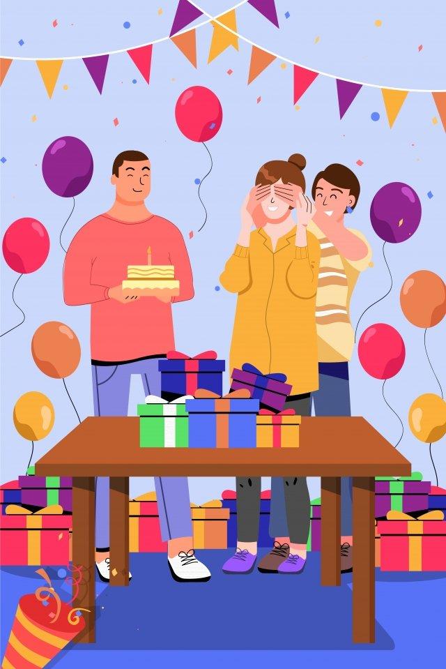 卡通慶祝生日聚會圖 插畫素材