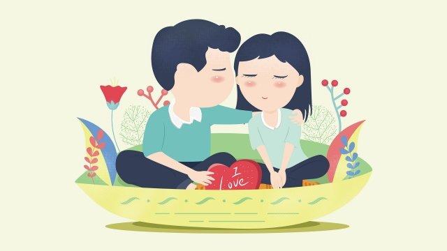 cartoon character hand drawn couple romantic sweet, Warm, Valentines Day, Healing illustration image