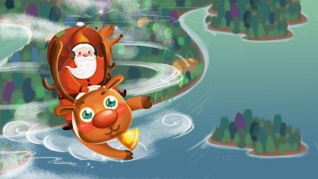 الكرتون عيد الميلاد سانتا كلوز الرنة مواد الصور المدرجة