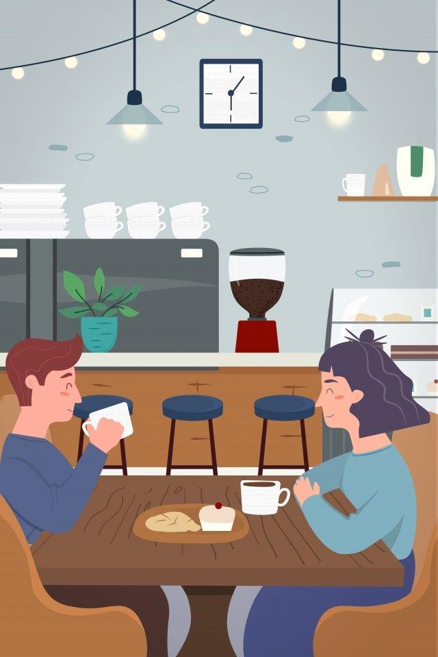 мультфильм пить кофе пара назначение Ресурсы иллюстрации
