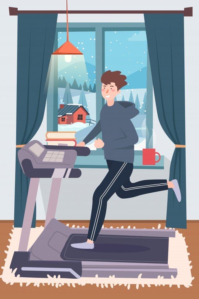 cartoon fitness motion treadmill llustration image illustration image