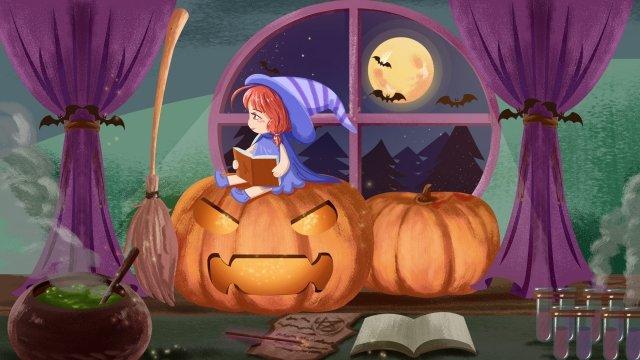 Cartoon halloween phù thủy nhỏ minh họa đọc một cuốn sách ma thuật ngồi trên một quả bí ngô Phim hoạt hình Halloween BíSách  Phép  Gái PNG Và PSD illustration image