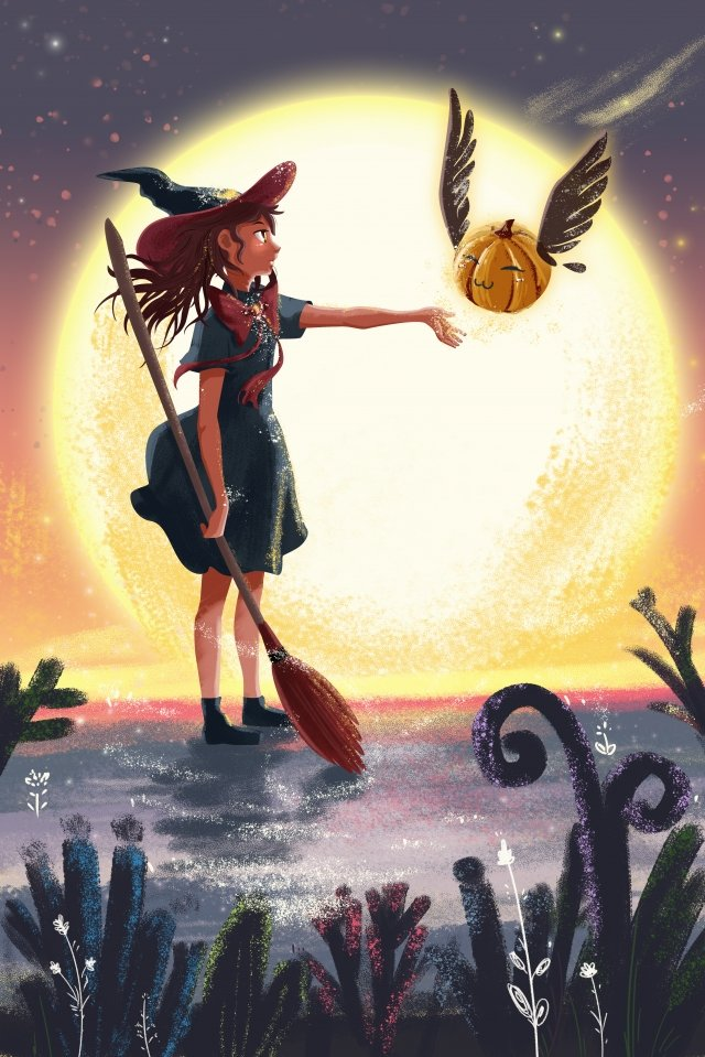Cartoon Halloween Sunset Moon Witch saudação ilustração de elfo de abóbora Caricatura Dia das bruxas PôrCaricatura  Dia  Das PNG E PSD illustration image