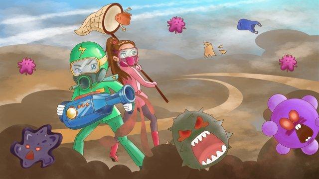 cartoon hand painted blue sky defend, Warrior, Fight, Smog illustration image
