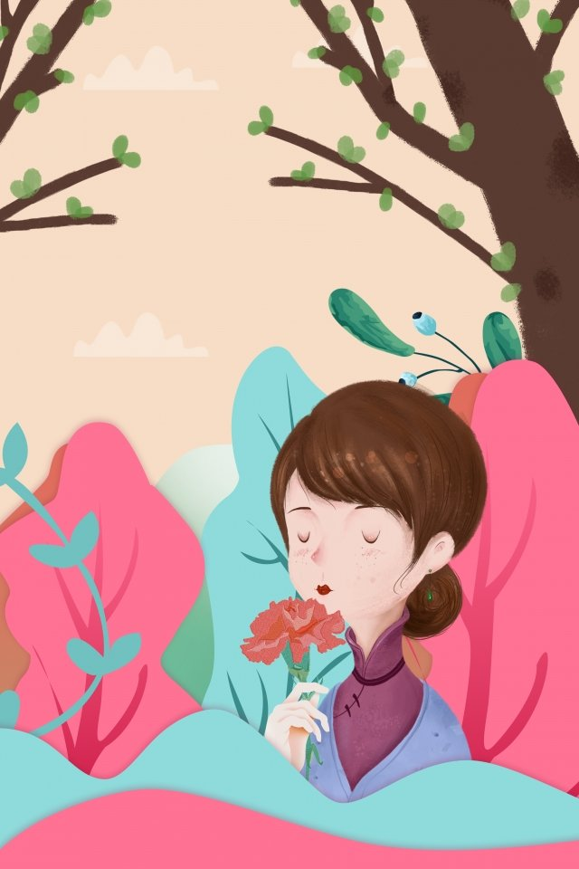 cartoon hand painted mothers day illustration, Department Of Forestry, Simple, Literary illustration image