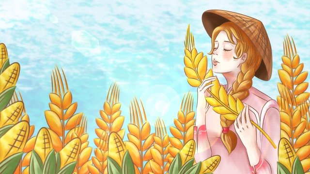 cartoon hand painted rural life, Autumn Harvest, Girl, Illustration illustration image