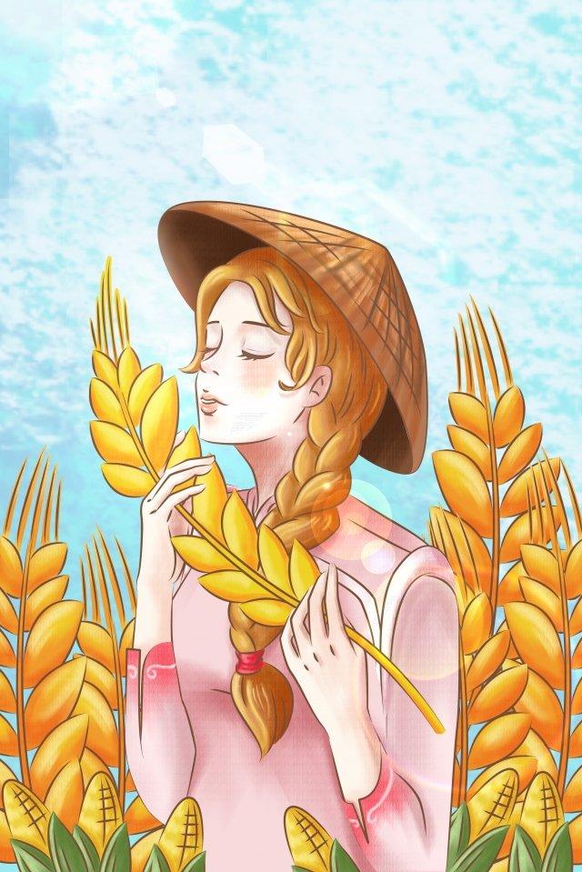 卡通手繪農村生活 插畫圖片