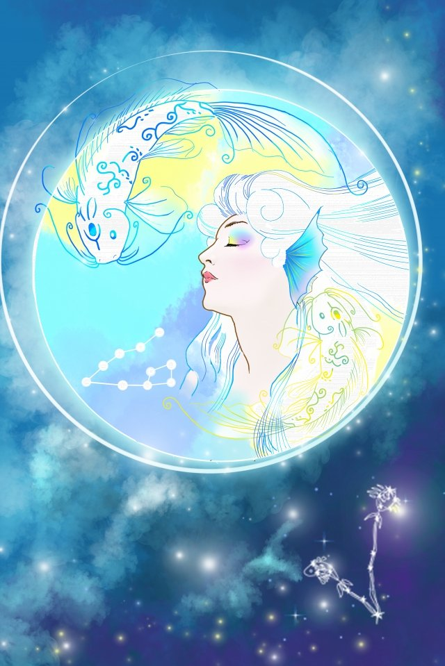 cartoon hand painted twelve constellations beauty llustration image illustration image