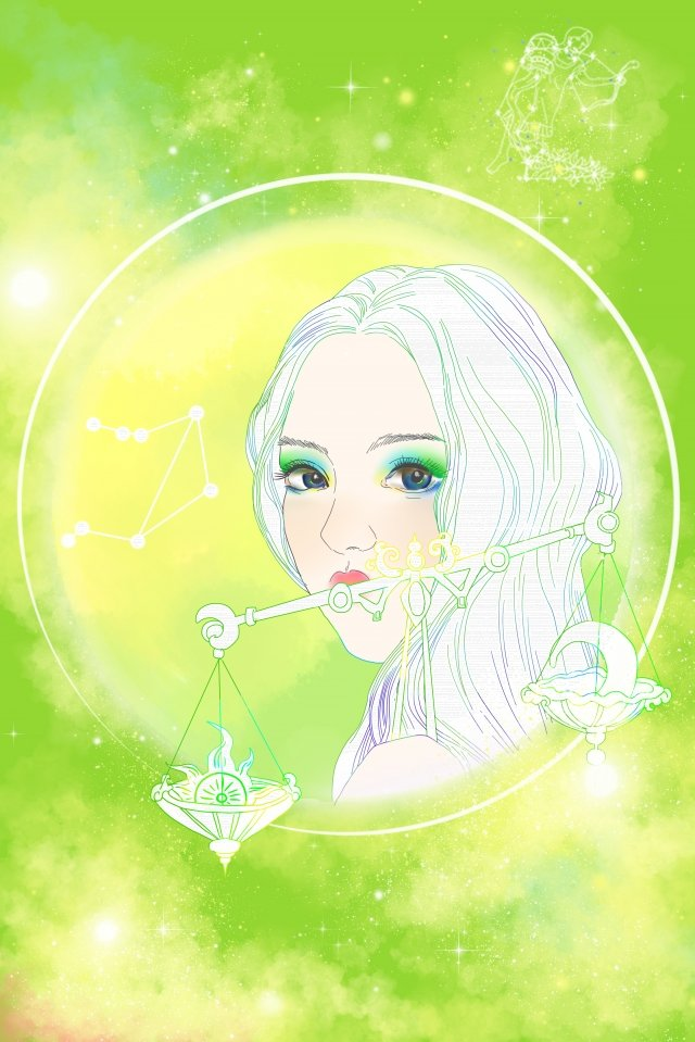 cartoon hand painted twelve constellations beauty, Avatar, Illustration, Astrology illustration image