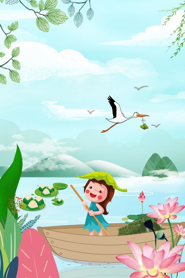 cartoon lake surface rafting dragon boat festival, Poster, Little Girl, Lotus illustration image