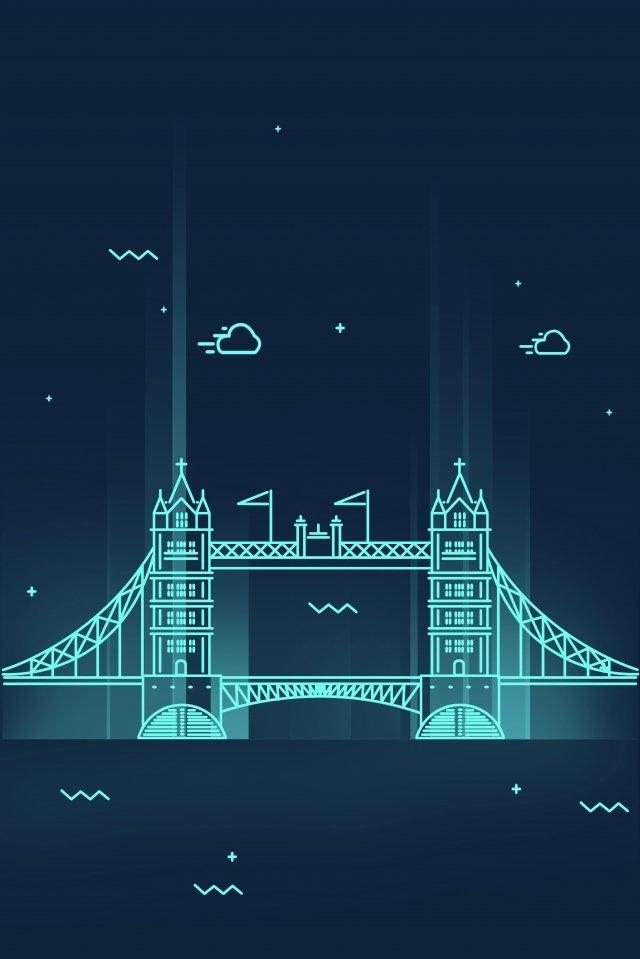 cartoon line united kingdom london, Tower Bridge, City, Night View illustration image