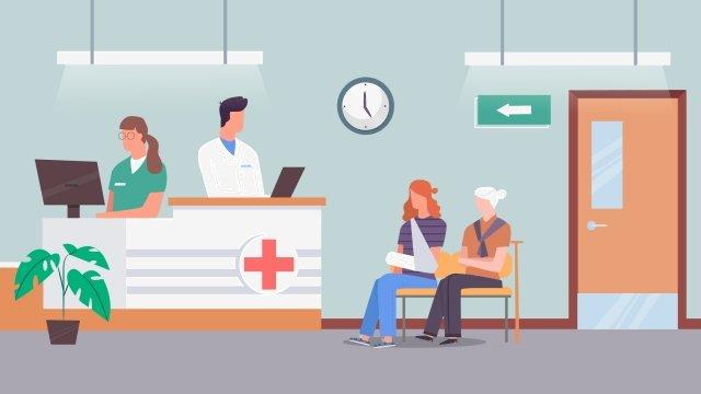 cartoon medical health see a doctor, Waiting, Medical Examination, Registered illustration image