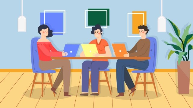cartoon office worker workplace meeting, Business, Office, Illustration illustration image